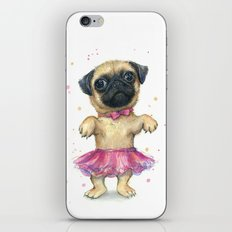 Cute Pug Puppy Dog Watercolor Painting iPhone & iPod Skin