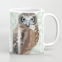 loish Mugs featuring Green Eyed Owl by Visual Condyle
