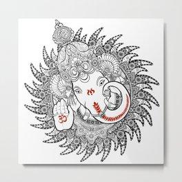 Ganesha Lineart Black Metal Print