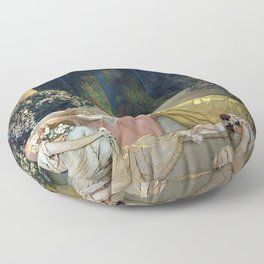 Maxfield Parrish Sleeping Beauty in the Woods Floor Pillow