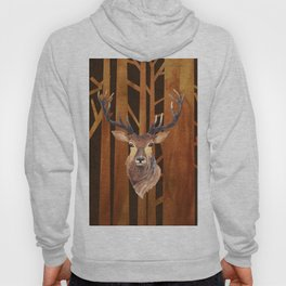 Proud deer in forest 1- Watercolor illustration Hoody