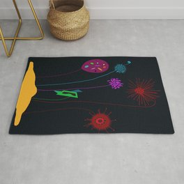 Silly Space-Age Flowers Black Background Rug