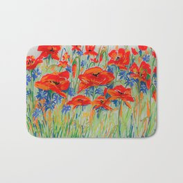 poppies and corn-flowers Bath Mat