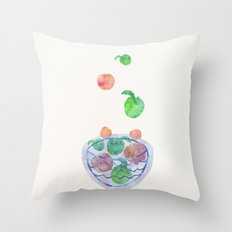 Red and Green Magic Apples in the Bowl Throw Pillow