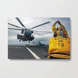 USS Ashland - aircraft directors on deck Metal Print