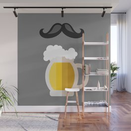 Beer mug flat icon and mustache Wall Mural