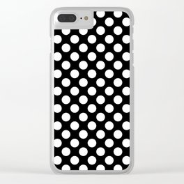 White Polka Dots with Black Background Clear iPhone Case