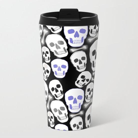 Small Tiled Skull Pattern Metal Travel Mug