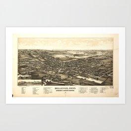 Aerial View of Bellevue Ohio Sandusky & Huron counties (1888) Art Print