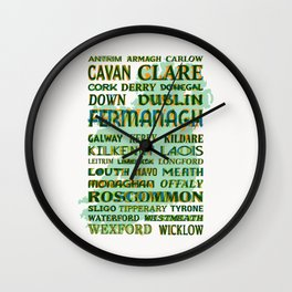 32 Counties Of Ireland Wall Clock