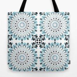 Blue and Black Flourish Fabric Tote Bag