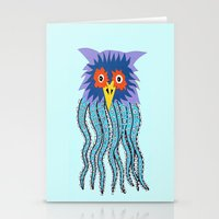 cthulu Stationery Cards featuring the owl of cthulu by ronnie mcneil