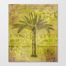 Vintage Journey palmtree typography travel collage Canvas Print