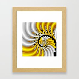 spirals in gold and white Framed Art Print