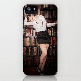 """""""Hot for Reading"""" - The Playful Pinup - Sexy Librarian Pin-up Girl by Maxwell H. Johnson iPhone Case"""