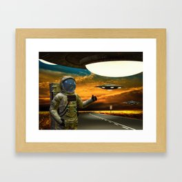Hitchinghiking Across The Universe Framed Art Print