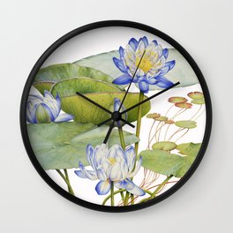 Blue Water Lily Botanical Wall Clock