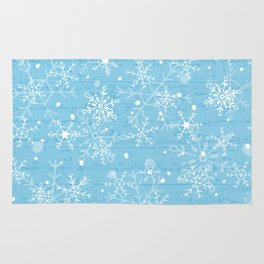 Snowflakes on Blue Wood Rug