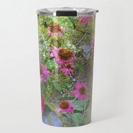 Serenity Prayer Pink Flowers on Yellow Travel Mug