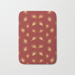 Primitive Art Hands Motif Pattern Bath Mat