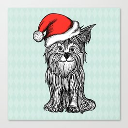 Christmas Dog In Santa Clause Hat Canvas Print