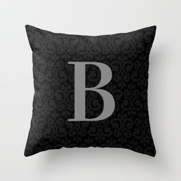 Modern Black Grey Damask Letter B Monogram Throw Pillow