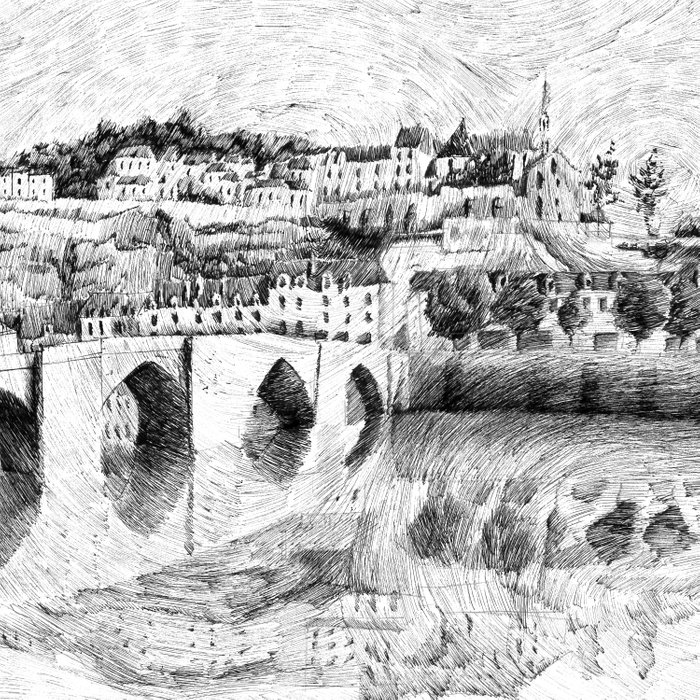 Terrasson village - France drawing Comforters