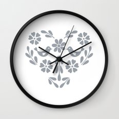 Silver heart shaped floral and birds Wall Clock