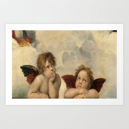Raphael – Madonna Sistine – detail – two putti Art Print