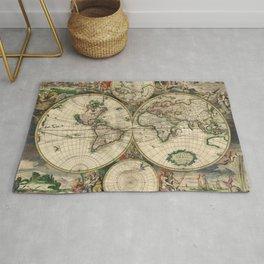 1689 Map of the World by Gerard van Schagen Rug