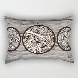 Doodles in cirlces on wood Rectangular Pillow