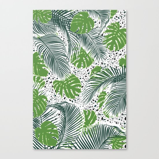 Green tropical leaves on terrazzo pattern Canvas Print