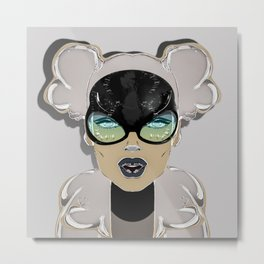 Mugshot 4:00 am Surreal Graffiti Girl Portrait with Glasses Metal Print