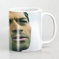 castiel Mugs featuring Castiel by MishaHead