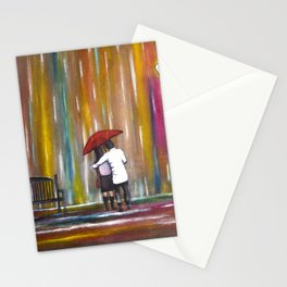 Love in the Rain romantic painting by Manjiri Kanvinde Stationery Cards