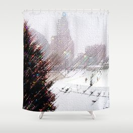Alex & Ani Skating Center - Providence, Rhode Island Winter Scene Portrait by Jeanpaul Shower Curtain