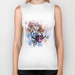Snarling Wild Tiger with Paint Drips Biker Tank