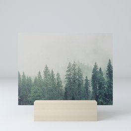 Foggy forest watercolor painting #10 Mini Art Print
