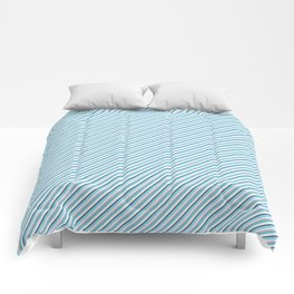 Sky Blue Strong Inclined Stripes Comforters