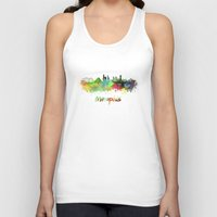 memphis Tank Tops featuring Memphis skyline in watercolor by Paulrommer