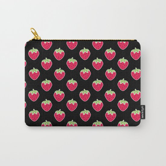 Strawberry Delight Black Carry-All Pouch