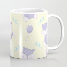 Happy Birthday Purple Fox on Yellow Background Pattern Coffee Mug