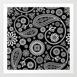 Oriental Persian Paisley, Dots - Black White Art Print