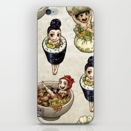 FOOD FAERIES- udon, sushi, and dimsum iPhone Skin