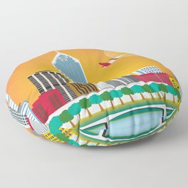 Perth, Australia - Skyline Illustration by Loose Petals Floor Pillow