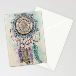 Modern tribal hand paint dreamcatcher mandala design Stationery Cards