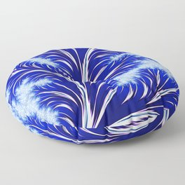 Abstract Blue Christmas Tree Branch with White Snowflakes Floor Pillow