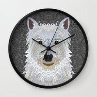 westie Wall Clocks featuring Westie by ArtLovePassion