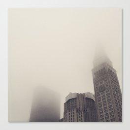 Clock Tower New York Fog Canvas Print