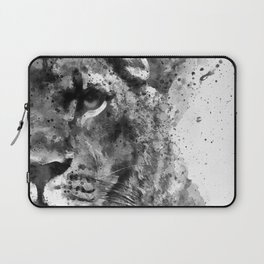 Black And White Half Faced Lioness Laptop Sleeve